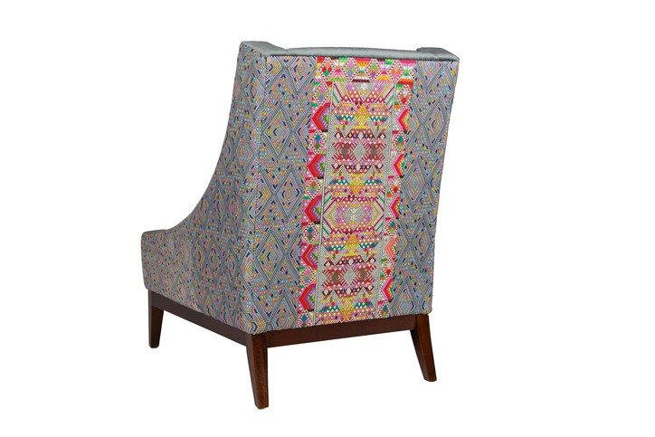 A Rum Fellow Aston Armchair in Tahual & Flores Brocade