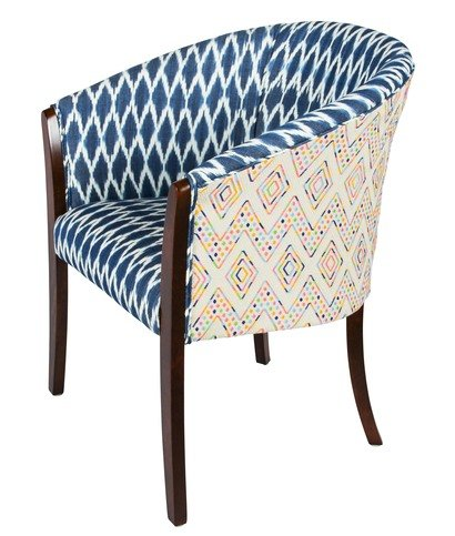 A Rum Fellow Hatton Tub Chair - Flores Brocade & Toliman Ikat
