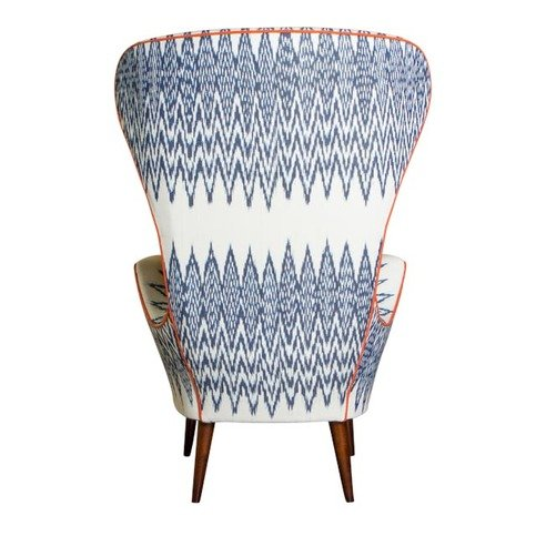 A Rum Fellow Rylah Wing Chair - Catarina Ikat & Altiplano Brocade