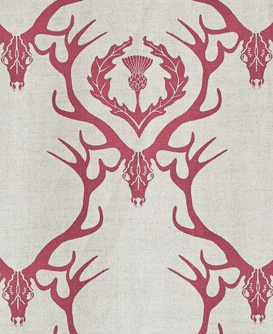 Barneby Gates Deer Damask Claret Fabric Thumbnail