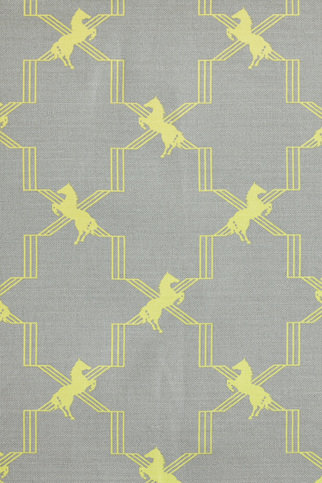 Barneby Gates Horse Trellis Acid yellow On Grey Fabric Barneby Gates ...