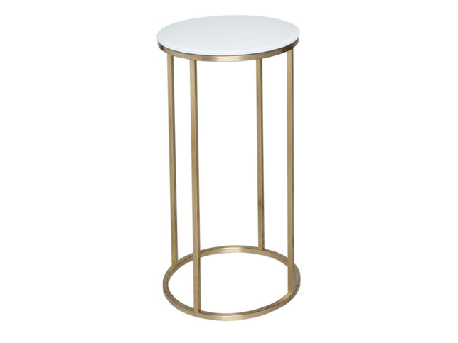 Gillmore Space Kensal White and Brass Circular Lamp Stand