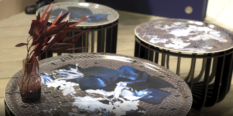 IBride Brushed Black Medusa 65 Outdoor Coffee Table & Sapphire Tray