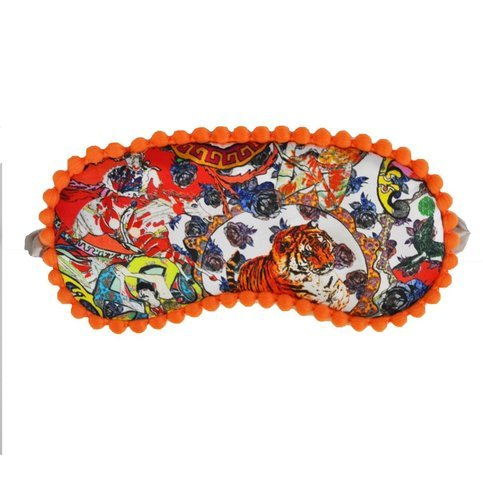 "Jessica Russel Flint ""Crazy Circus"" Silk Sleep Mask with pom-pom trim Thumbnail"