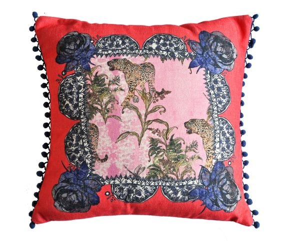 "Jessica Russel Flint ""The Jungle Flowers"" Linen Cushion Cover with pompom trim"