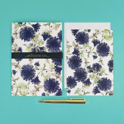 "Jessica Russel Flint Writing Paper Set/ ""Botanical Bees and Leaves"""