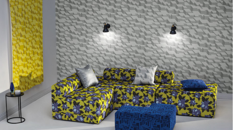 Kirkby Design Cubic Bumps Wallcovering Sunshine