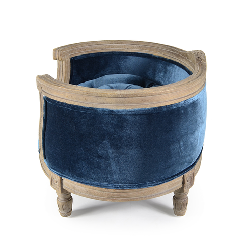 Lord Lou George Royal Blue Velvet Pet Bed