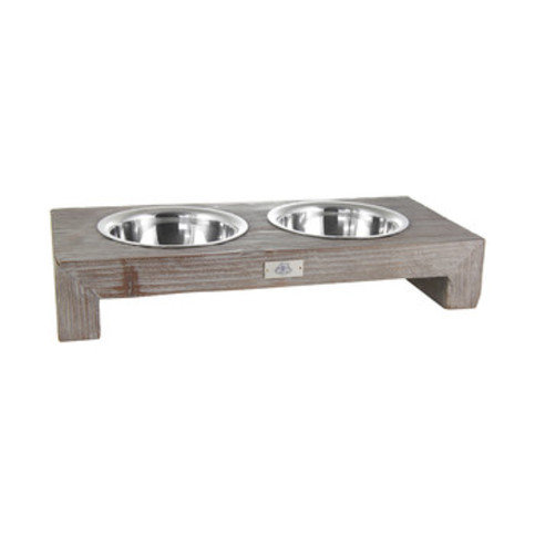 Lord Lou Milano Double Burnt Oak Pet Feeder