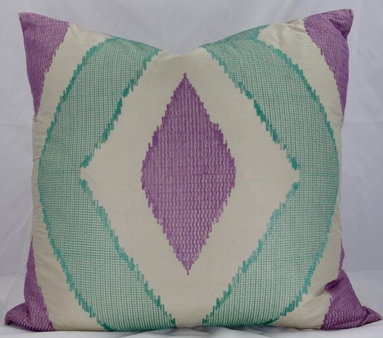 Silk Mint and Lilac Cushion