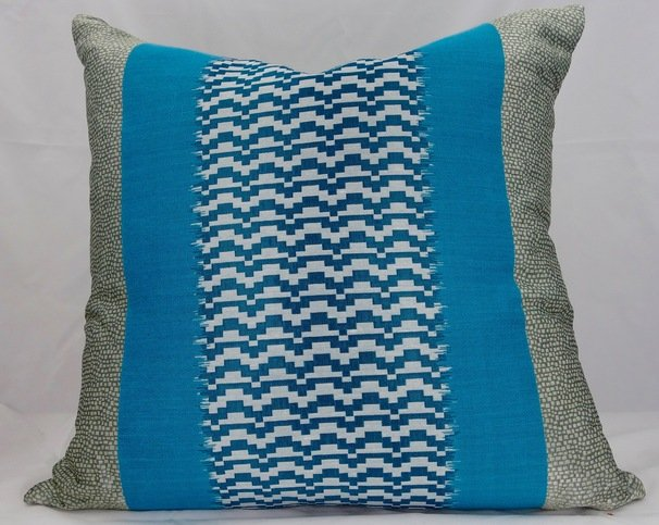Silk Turquoise and Champagne Cushion