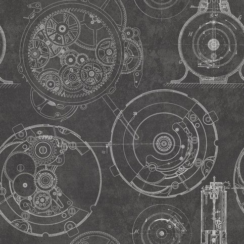 Mind The Gap Horlogerie Anthracite Wallpaper