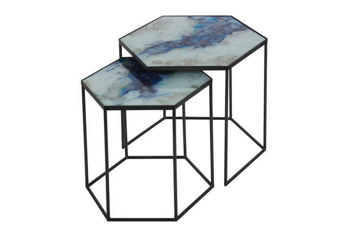 Notre Monde Cobalt Mist Organic Side Table Set