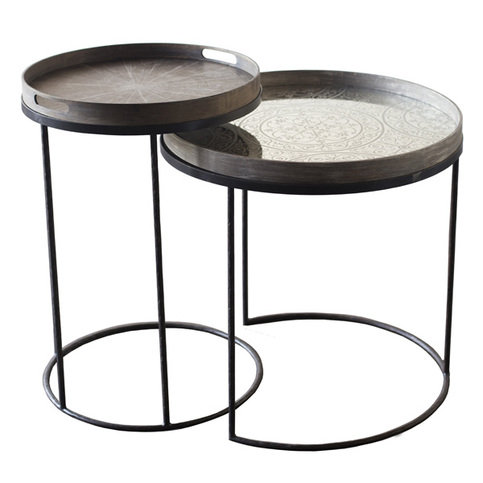 Notre Monde Round High Tray Tables Set