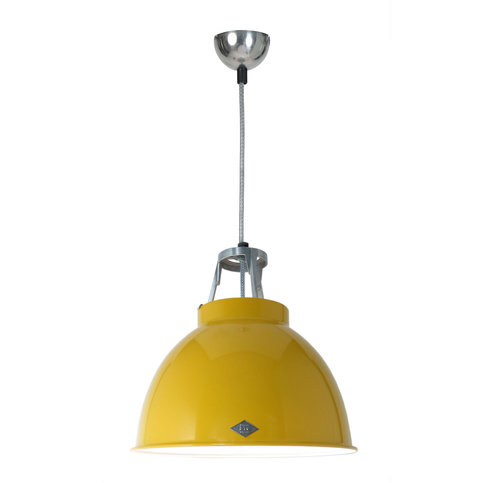 Original BTC Titan Size 1 Yellow with White Interior Pendant Light