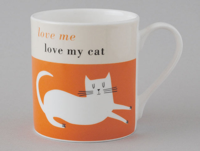 Repeat Repeat Happiness Cat Orange Mug