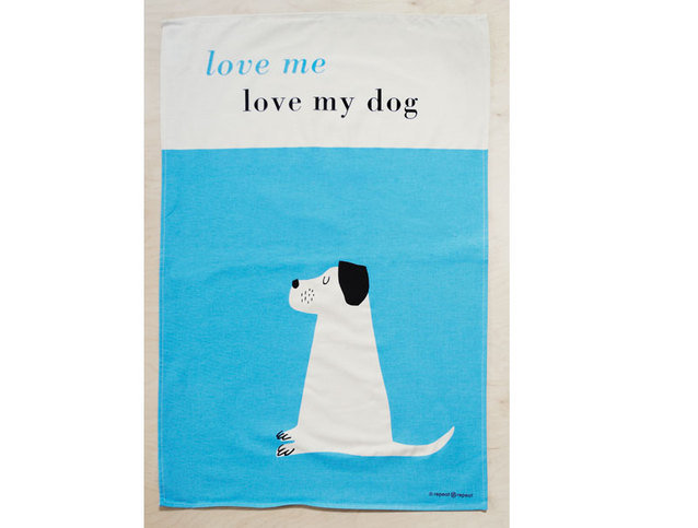 Repeat Repeat Happiness Dog Turquoise Tea Towels