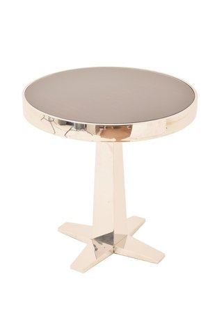 R V Astley Aria Side Table in Stainless Steel and Eucalyptus Print