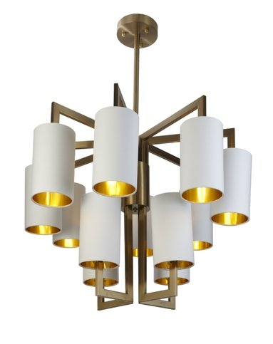 R V Astley Brushed Gold 8+4 Opal Shades Chandelier Thumbnail