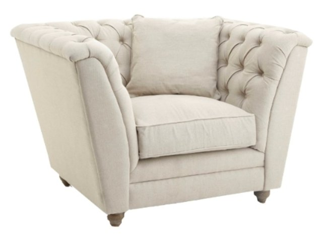 R V Astley Charee Natural Armchair with Cushion