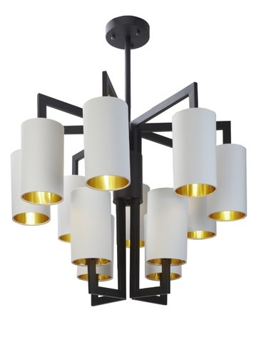 R V Astley Matt Black 8+4 Opal Shades Chandelier