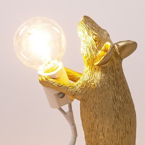 Seletti Mouse Gold Step Lamp
