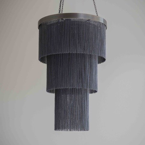Tigermoth Black Chain Long Chandelier