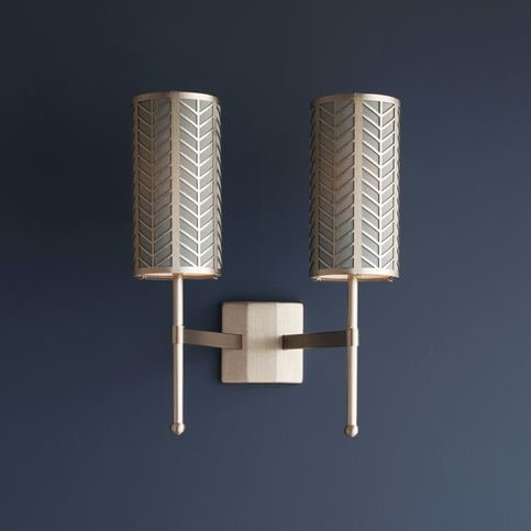 Tigermoth Double Stem Gold Wall Light with Fossil Lattice