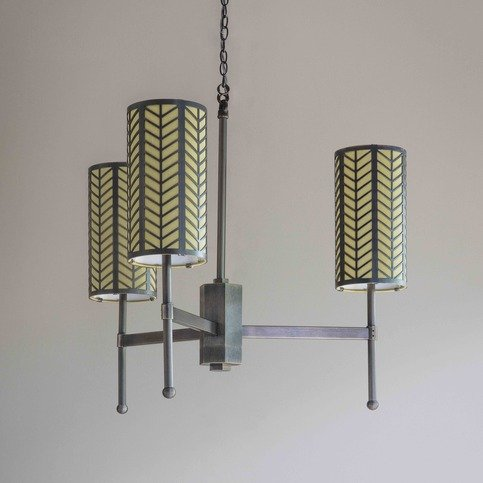 Tigermoth Small Stem Bronze Lattice Chandelier with Celery Silk Thumbnail