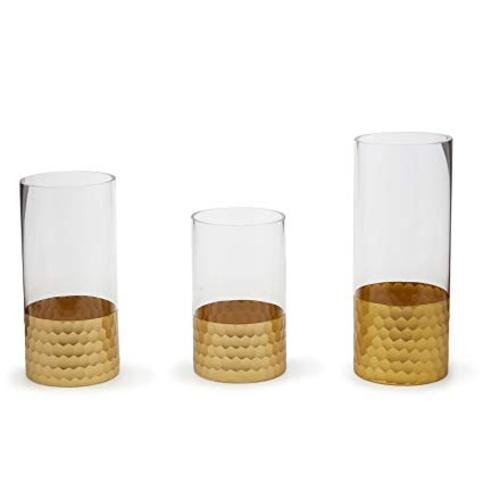 Tozai Gold Beehive Set of 3 Pillar Candle Holder/Vases