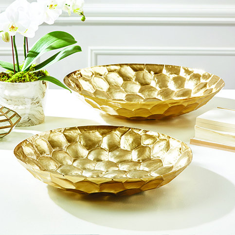 Tozai Golden Honeycomb Hammered Dishes