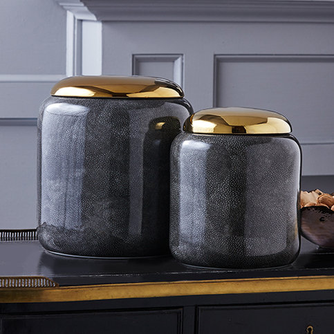 Tozai Grey Shagreen Jars with Gold Lid