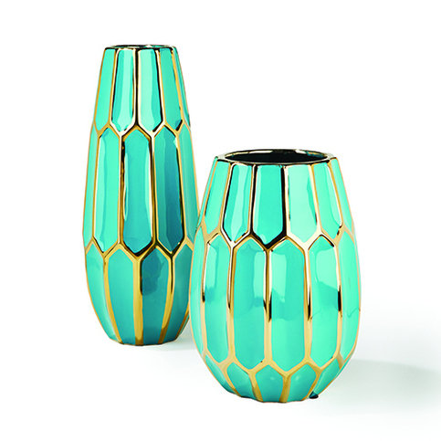 Tozai Faceted Turquoise & Gold Vase