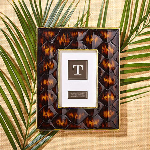 Twos Company Diamondback Tortoise Shell Photo Frame