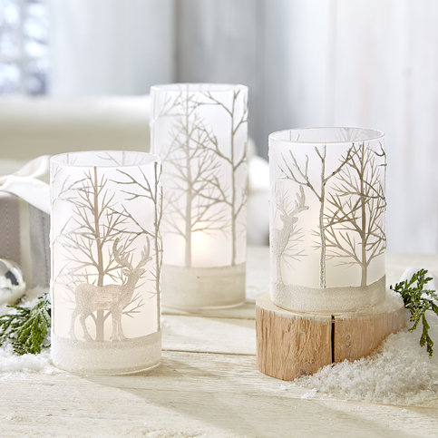Twos Company Snowy Forest Scene Candleholders - set of 3