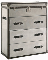 Andrew Martin Steel & Brown Leather Chest of Drawers