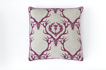 Barneby Gates Deer Damask Claret Cushion