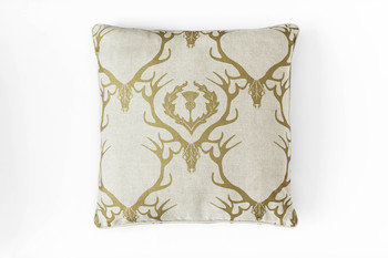 Barneby Gates Deer Damask Gold Cushion
