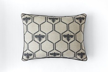 Barneby Gates Honey Bees Charcoal Cushion