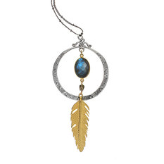 Brave Lotus Feather in the Wind Necklace