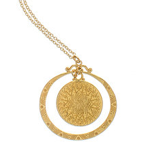 Brave Lotus Full Moon Eclipse Gold Pendant