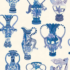 Cole & Son Khulu Vases Blue/White Wallcovering