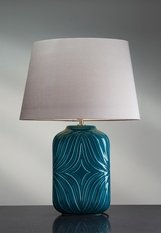 Elstead Lighting Luis Collection Muse Turquiose Table Lamp with gunmetal shade