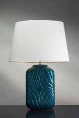 Elstead Lighting Luis Collection Muse Turquiose Table Lamp with off white shade