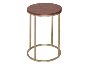 Gillmore Space Kensal Walnut and Brass Circular Side Table