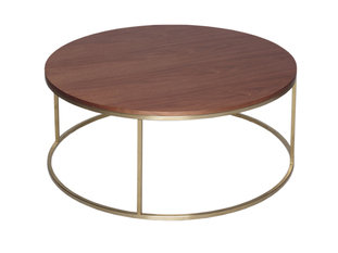 Gillmore Space Kensal Walnut and Brass Circular Coffee Table