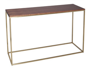 Gillmore Space Kensal Walnut and Brass Console Table