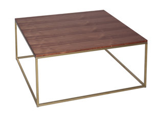 Gillmore Space Kensal Walnut and Brass Square Coffee Table