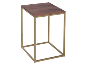Gillmore Space Kensal Walnut and Brass Square Side Table