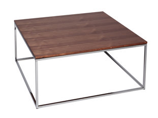 Gillmore Space Kensal Walnut and Steel Square Coffee Table